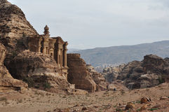 Petra monastery. Carved out of the rock face in Jordan Royalty Free Stock Photos