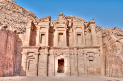 Petra monastery. Monastery with blue sky in background high in Petra mountains Stock Image