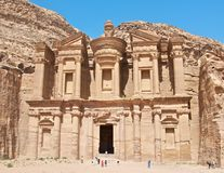 Petra monastery. Petra is main tourist attraction in the entire Jordan,,ancient city with the buildings dug in the sotnes..Not built but dug..this monastery was Royalty Free Stock Images
