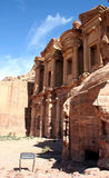 Petra monastery. Monastery with blue sky in background high in Petra mountains Royalty Free Stock Photography