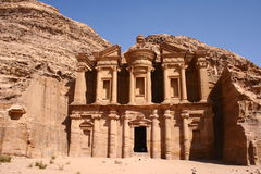 Petra Monastery. Monastery of rock city Petra in Jordan / height: 48 meters Royalty Free Stock Photos