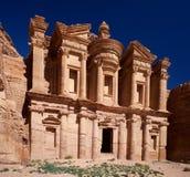 Petra Monastery em Jordânia em Ásia grande fotografia de stock