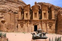 Petra monastery, Jordan. Petra monastery with Bedouins Tea & coffee pots, Jordan Royalty Free Stock Photo