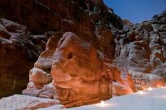 Petra at Night Royalty Free Stock Photography