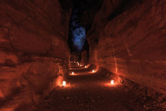 Petra by night, in Jordan Stock Photo
