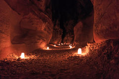 Petra by night in Jordan Stock Photos