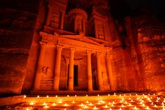 Petra by night in Jordan by part of the rock city royalty free stock image