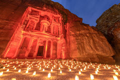 Petra by Night in Jordan. Royalty Free Stock Photo