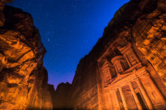 Petra by Night in Jordan Stock Photography