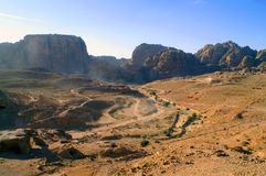 Nabatean Desert in Petra, Jordan. Petra, originally known as Raqmu, is a historical and archaeological city in southern Jordan. It was  the capital city of the Royalty Free Stock Photo