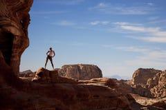 Petra panoramic view. Panoramic view of great Petra mountains and landscape, Jordan Stock Image