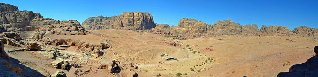 Petra Panoramic. Panoramic view of Petra, Jordan royalty free stock photo