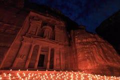 Petra por la noche, Jordania Imágenes de archivo libres de regalías