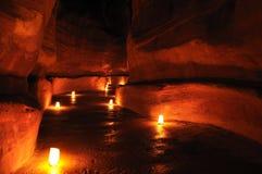 Petra por noche Imagen de archivo