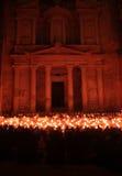 Petra por noche Foto de archivo libre de regalías