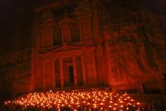 Petra por noche Imágenes de archivo libres de regalías