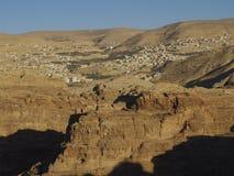 Petra; Raqmu - historyczne ruiny antyczny, rockowy miasto Nabatean Arabians, Ja lokalizuje w południowo-zachodni Jordania Ja jest obrazy stock