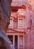 Petra, rock city of Jordan. Temples, tombs, theaters and other buildings. UNESCO world heritage site and one of The New 7 Wonders of the World stock photography