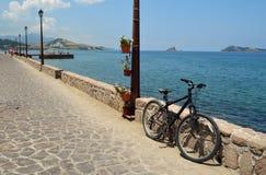 Petra Seafront Lesvos. Bike on Petra Seafront Lesvos royalty free stock photos