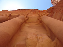 Petra temple. Looking up at Petra rock temple royalty free stock photos