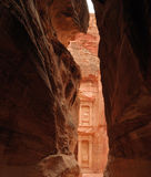 Petra temple from canyon Royalty Free Stock Photography