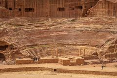 Petra Theater, a Nabataean theater in Petra, Jordan. The theater was built in the cultural and political apex of the Nabataean kingdom under Aretas IV 9 BC-40 AD stock photos