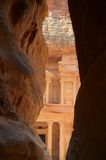Petra Tomb. A view of the famous tomb in Petra archeological site Stock Images