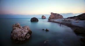 Petra tou Romiou,美之女神在塞浦路斯靠岸 库存图片