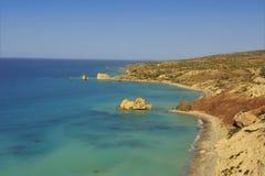 Petra tou romiou coast. Rock of the Greek or Aphrodites Rock Royalty Free Stock Photo