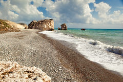 Petra tou romiou beach. Petra tou romiou (aphrodite) beach Stock Images