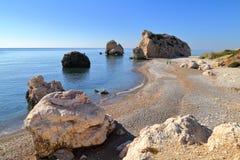PETRA TOU ROMIOU, CYPRUS: Aphrodite`s rock and beach near Pafos Stock Photos