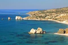 PETRA TOU ROMIOU, CYPRUS: General view of  Aphrodite`s rock and beach near Pafos Stock Photos