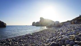 Petra tou Romiou - famous pebble beach on Cyprus stock video footage