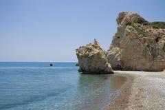PETRA Tou Romiou, spiaggia sulla Cipro Immagini Stock