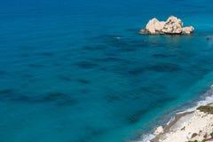 Petra tou Roumiou, Aphrodite`s rock. Rocky coastline on the Medi. Aphrodite`s rock. Rocky coastline on the Mediterranean sea in Cyprus. Petra tou Roumiou is the Royalty Free Stock Image
