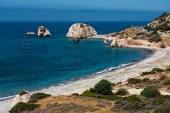 Petra tou Roumiou, Aphrodite`s rock. Rocky coastline on the Medi Royalty Free Stock Photo