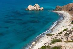 Petra tou Roumiou, Aphrodite`s rock. Rocky coastline on the Medi Stock Image