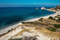 Petra tou Roumiou, Aphrodite`s rock. Rocky coastline on the Medi Royalty Free Stock Image