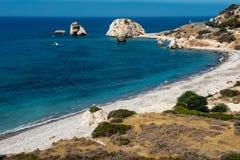 Petra tou Roumiou, Aphrodite`s rock. Rocky coastline on the Medi Royalty Free Stock Photography
