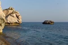 Petra tou Roumiou, Aphrodite`s rock. Rocky coastline on the Medi. Aphrodite`s rock. Rocky coastline on the Mediterranean sea in Cyprus. Petra tou Roumiou is the Royalty Free Stock Photos