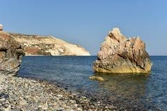 Petra tou Roumiou, Aphrodite`s rock. Rocky coastline on the Medi. Aphrodite`s rock. Rocky coastline on the Mediterranean sea in Cyprus. Petra tou Roumiou is the Stock Photos