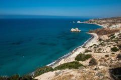 Petra tou Roumiou, Aphrodite`s rock. Rocky coastline on the Medi. Aphrodite`s rock. Rocky coastline on the Mediterranean sea in Cyprus. Petra tou Roumiou is the Stock Photo