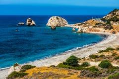 Petra tou Roumiou, Aphrodite`s rock. Rocky coastline on the Medi. Aphrodite`s rock. Rocky coastline on the Mediterranean sea in Cyprus. Petra tou Roumiou is the Stock Image