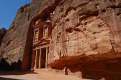 Petra, The Treasury. UNESCO world heritage site and one of The New 7 Wonders of the World Royalty Free Stock Photography