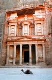 Petra - The Treasury with camel. Petra-Ancient City on Wadi Musa desert Royalty Free Stock Photo