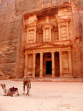 Petra Treasury with camels. Ancient Nabatean site in Jordan, carved out of the face of a cliff Royalty Free Stock Images