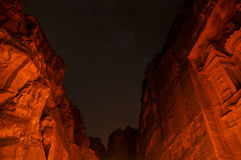 The Petra Treasury at Night Stock Images