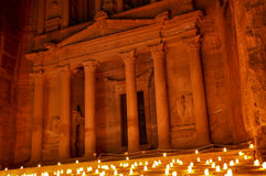 The Petra Treasury at Night. Al-Khazneh `The Treasury`‎‎ is one of the most elaborate temples in the ancient Arab Nabatean Kingdom city of Petra. As with Royalty Free Stock Photo