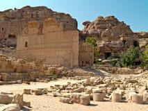 Petra van Qasr al-Bint van de tempel, Jordanië Royalty-vrije Stock Foto's