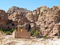 Petra van Qasr al-Bint van de tempel, Jordanië Stock Afbeelding